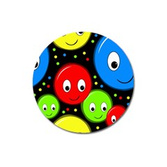 Smiley Faces Pattern Magnet 3  (round) by Valentinaart