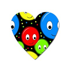 Smiley Faces Pattern Heart Magnet by Valentinaart