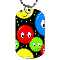 Smiley Faces Pattern Dog Tag (two Sides) by Valentinaart