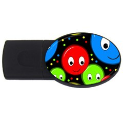Smiley Faces Pattern Usb Flash Drive Oval (4 Gb)