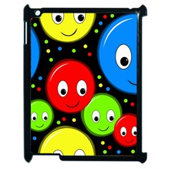 Smiley Faces Pattern Apple Ipad 2 Case (black) by Valentinaart