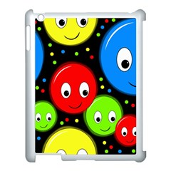Smiley Faces Pattern Apple Ipad 3/4 Case (white) by Valentinaart