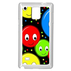 Smiley Faces Pattern Samsung Galaxy Note 4 Case (white) by Valentinaart
