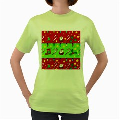 Christmas Pattern   Green And Red Women s Green T Shirt by Valentinaart