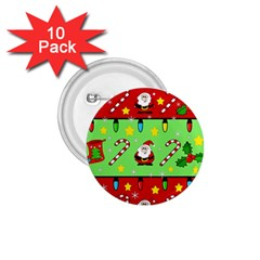 Christmas Pattern   Green And Red 1 75  Buttons (10 Pack) by Valentinaart