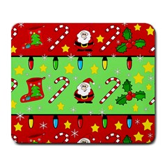 Christmas Pattern   Green And Red Large Mousepads by Valentinaart