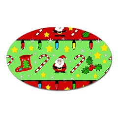 Christmas Pattern   Green And Red Oval Magnet by Valentinaart
