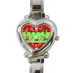Christmas Pattern   Green And Red Heart Italian Charm Watch by Valentinaart