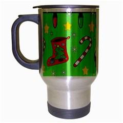 Christmas Pattern   Green And Red Travel Mug (silver Gray) by Valentinaart