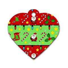 Christmas Pattern   Green And Red Dog Tag Heart (two Sides) by Valentinaart