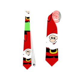 Christmas Pattern   Green And Red Neckties (one Side)  by Valentinaart