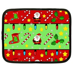 Christmas Pattern   Green And Red Netbook Case (xl)  by Valentinaart