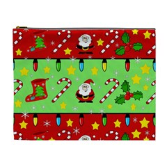 Christmas Pattern   Green And Red Cosmetic Bag (xl) by Valentinaart