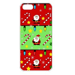 Christmas Pattern   Green And Red Apple Iphone 5 Seamless Case (white) by Valentinaart