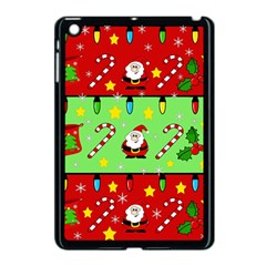 Christmas Pattern   Green And Red Apple Ipad Mini Case (black) by Valentinaart