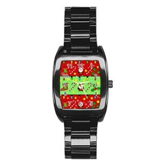 Christmas Pattern - Green And Red Stainless Steel Barrel Watch by Valentinaart