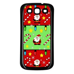 Christmas Pattern   Green And Red Samsung Galaxy S3 Back Case (black) by Valentinaart