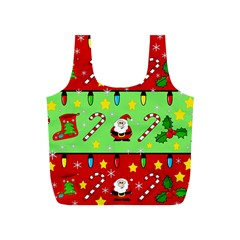 Christmas Pattern   Green And Red Full Print Recycle Bags (s)