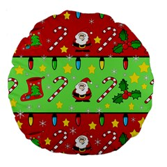 Christmas Pattern   Green And Red Large 18  Premium Flano Round Cushions by Valentinaart