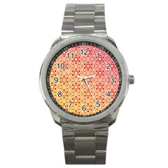 Orange Ombre Mosaic Pattern Sport Metal Watch by TanyaDraws