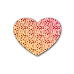 Orange Ombre Mosaic Pattern Heart Coaster (4 Pack)  by TanyaDraws