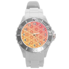 Orange Ombre Mosaic Pattern Round Plastic Sport Watch (l) by TanyaDraws