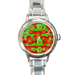 Snowflake Red And Green Pattern Round Italian Charm Watch by Valentinaart