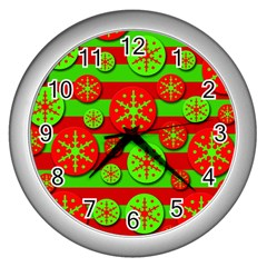 Snowflake Red And Green Pattern Wall Clocks (silver)  by Valentinaart
