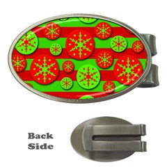 Snowflake Red And Green Pattern Money Clips (oval)  by Valentinaart