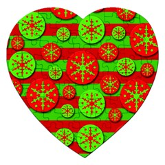 Snowflake Red And Green Pattern Jigsaw Puzzle (heart) by Valentinaart