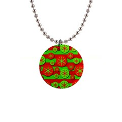 Snowflake Red And Green Pattern Button Necklaces