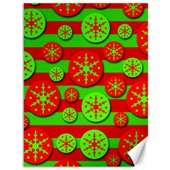 Snowflake Red And Green Pattern Canvas 36  X 48   by Valentinaart