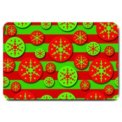 Snowflake Red And Green Pattern Large Doormat  by Valentinaart