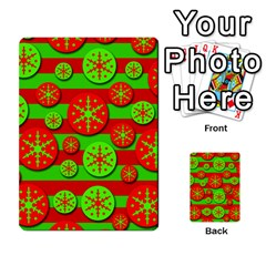 Snowflake Red And Green Pattern Multi Purpose Cards (rectangle)  by Valentinaart