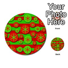 Snowflake Red And Green Pattern Multi Purpose Cards (round)  by Valentinaart