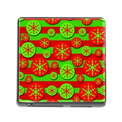 Snowflake Red And Green Pattern Memory Card Reader (square) by Valentinaart