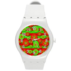 Snowflake Red And Green Pattern Round Plastic Sport Watch (m) by Valentinaart