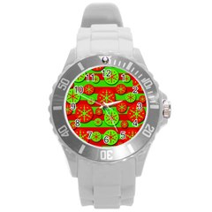 Snowflake Red And Green Pattern Round Plastic Sport Watch (l) by Valentinaart