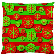 Snowflake Red And Green Pattern Large Cushion Case (one Side) by Valentinaart