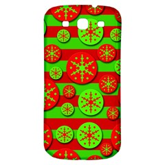 Snowflake Red And Green Pattern Samsung Galaxy S3 S Iii Classic Hardshell Back Case by Valentinaart