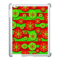 Snowflake Red And Green Pattern Apple Ipad 3/4 Case (white) by Valentinaart