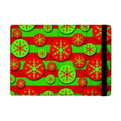 Snowflake Red And Green Pattern Ipad Mini 2 Flip Cases by Valentinaart