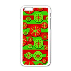 Snowflake Red And Green Pattern Apple Iphone 6/6s White Enamel Case by Valentinaart