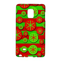 Snowflake Red And Green Pattern Galaxy Note Edge by Valentinaart