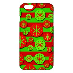 Snowflake Red And Green Pattern Iphone 6 Plus/6s Plus Tpu Case by Valentinaart
