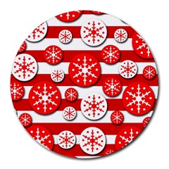 Snowflake Red And White Pattern Round Mousepads by Valentinaart