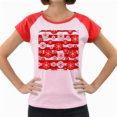 Snowflake Red And White Pattern Women s Cap Sleeve T Shirt by Valentinaart