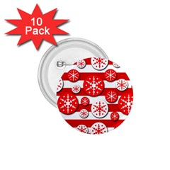 Snowflake Red And White Pattern 1 75  Buttons (10 Pack) by Valentinaart
