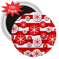 Snowflake Red And White Pattern 3  Magnets (100 Pack) by Valentinaart