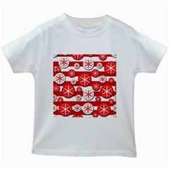 Snowflake Red And White Pattern Kids White T Shirts